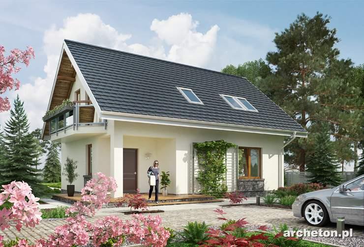 Projekt domu Drobina-2 - mały domek z przestronnym pokojem dziennym z wyjściem na taras