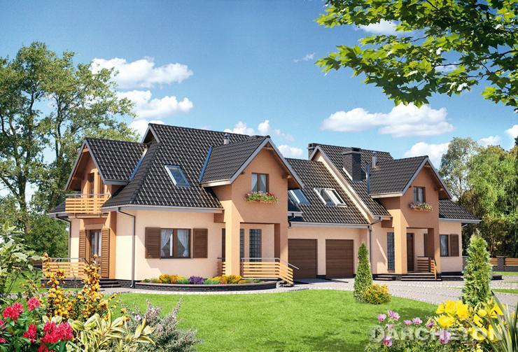 Projekt domu Drop Duo - średniej wielkości dom bliźniaczy, z garażem na jeden samochód