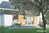 Projekt domu Drops G1 - mały i nowoczesny dom z użytkowym poddaszem, z tarasem nad garażem