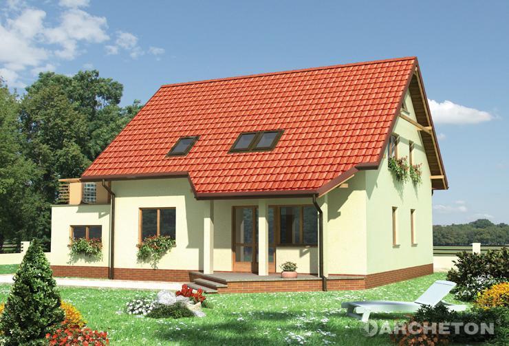 Projekt domu Drozd - dom z dużym tarasem nad garażem i z przeszkleniem z pustaków szklanych