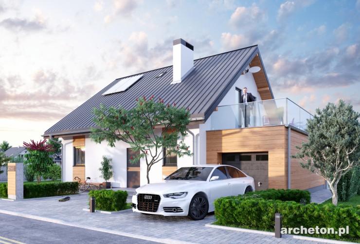 Projekt domu Drozd Eko - nieduży energooszczędny dom z tarasem nad garażem