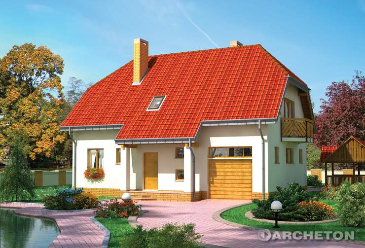 Projekt domu Dukat - dom parterowy z trapezowym poszerzeniem pokoju dziennego