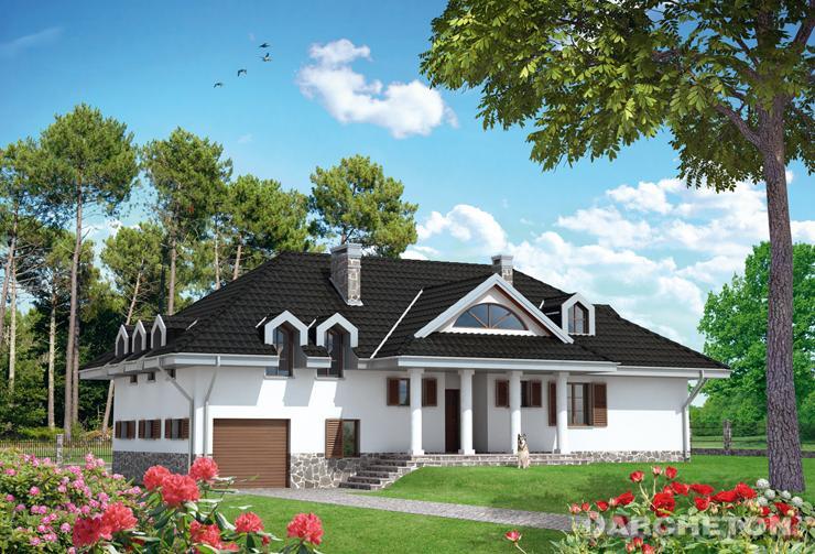 Projekt domu Dworek - obszerny dom z garażem, kotłownią na poziomie niższego parteru