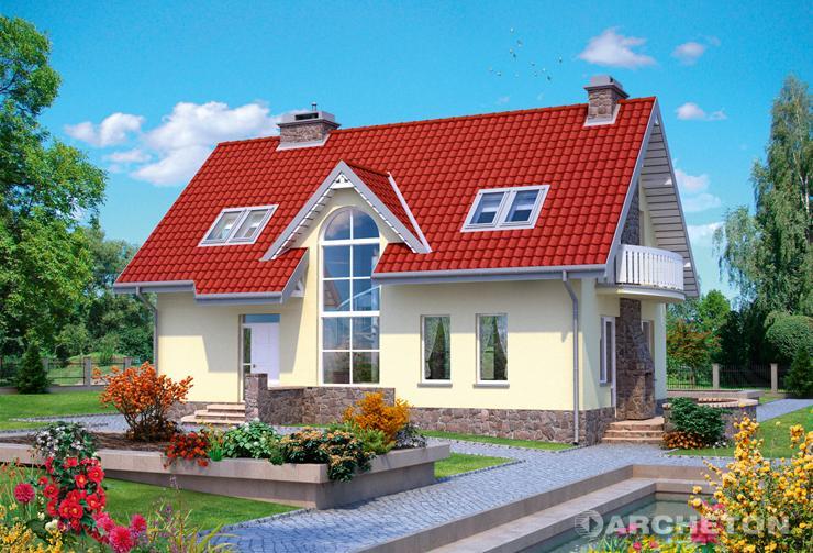 Projekt domu Dziewanna - dom na wąską działkę z dużym przeszkleniem klatki schodowej