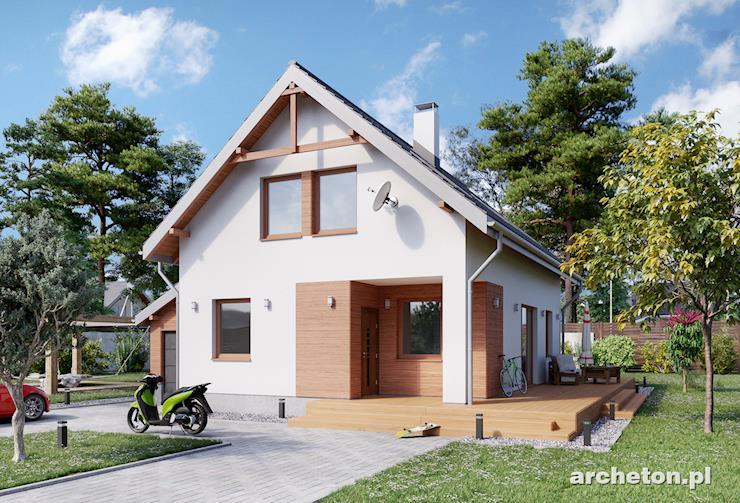 Projekt domu Dzionek - nieduży dom z dostawionym garażem, krytym dachem pulpitowym
