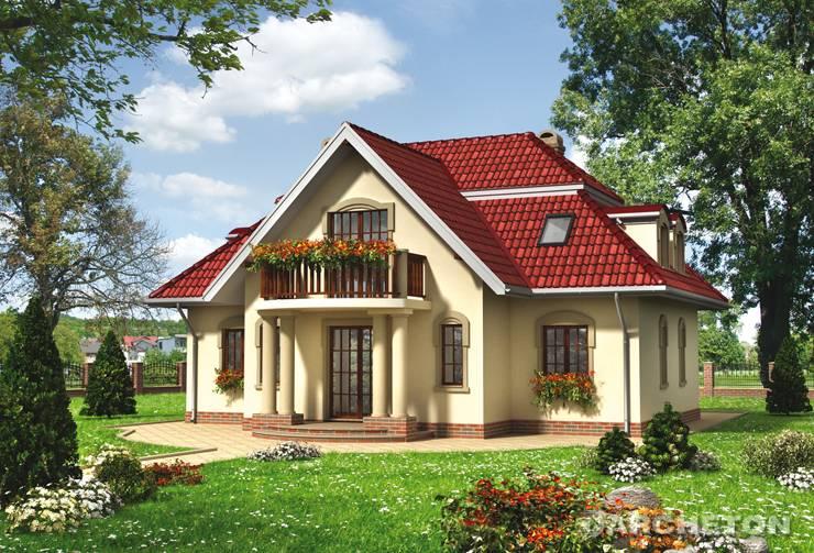 Projekt domu Dziwisz - malowniczy dom z portykiem wejścia wspartym na 4 kolumnach