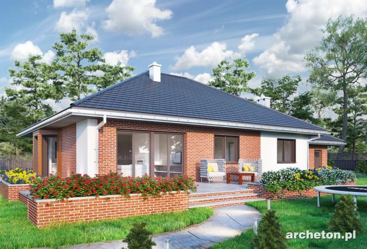 Projekt domu Eliza - ciekawy dom parterowy, z charakterystycznymi kolumnami przy wejściu