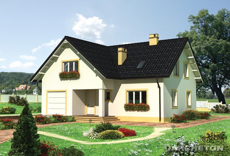 Projekt domu Emil - duży dom z pomieszczeniem gospodarczym pod schodami