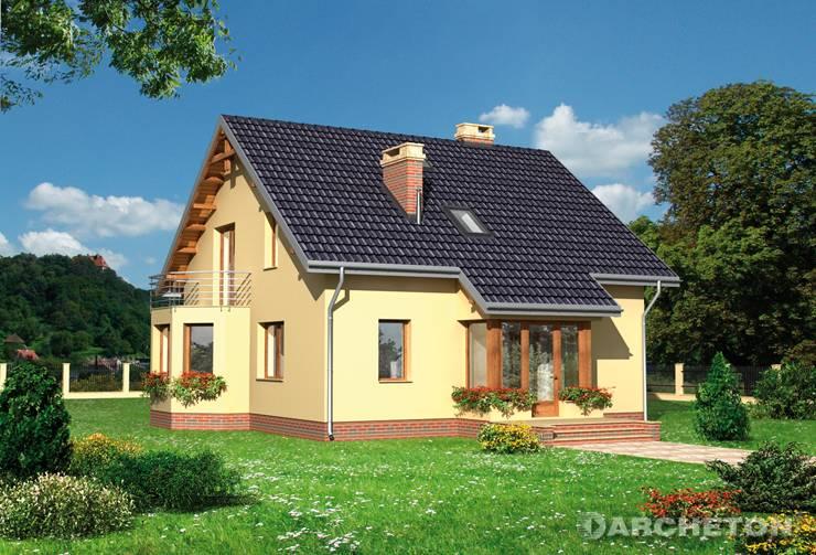 Projekt domu Ernest - malowniczy dom z balkonem przykrywającym jadalnię w ryzalicie