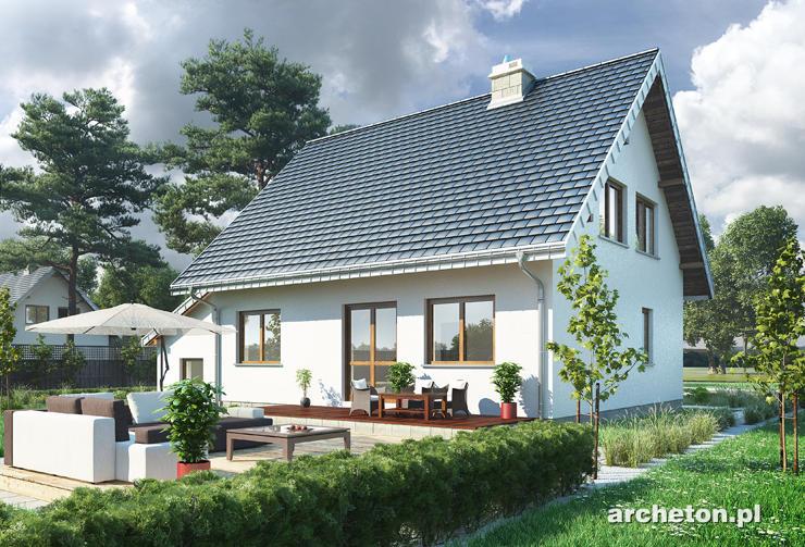 Projekt domu Ewa - nieduży dom z dostawionym garażem i podcieniem wejścia