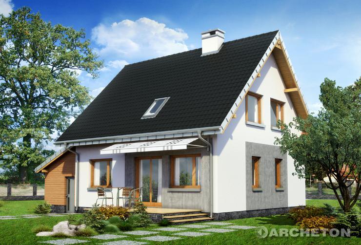 Projekt domu Ewa Neo - dom z garażem dostawionym do bryły, z tarasem zadaszonym markizą