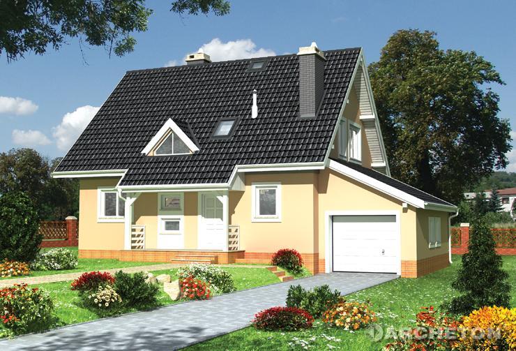 Projekt domu Ewa z piwnicą - dom pokryty dachem dwuspadowym z dachówki cementowej