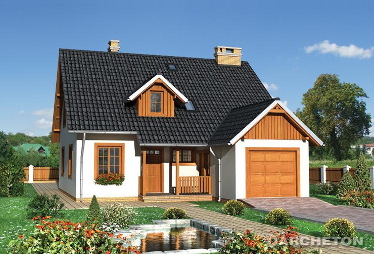 Projekt domu Faustyn - dom z wysuniętym garażem od strony frontowej