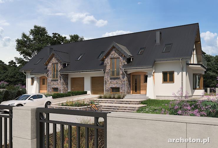 Projekt domu Fermata Duo - malowniczy dom bliźniaczy z częściową okładziną kamienną
