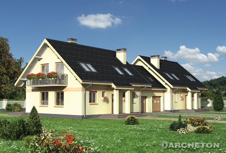 Projekt domu Figa Duo - dom do zabudowy bliźniaczej pokryty blachą dachówkową