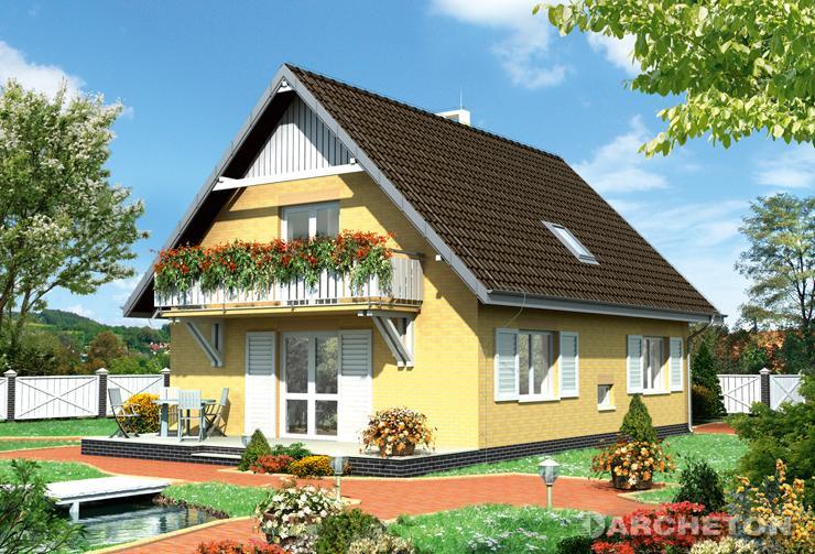 Projekt domu Fikus - dom z malowniczymi okiennicami i balkonami na ścianach szczytowych