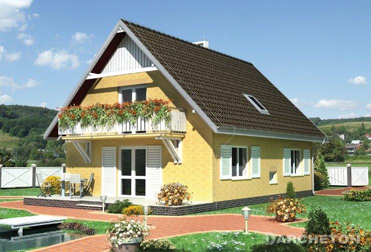 Projekt domu Fikus - dom z wspornikowymi balkonami w ścianach szczytowych