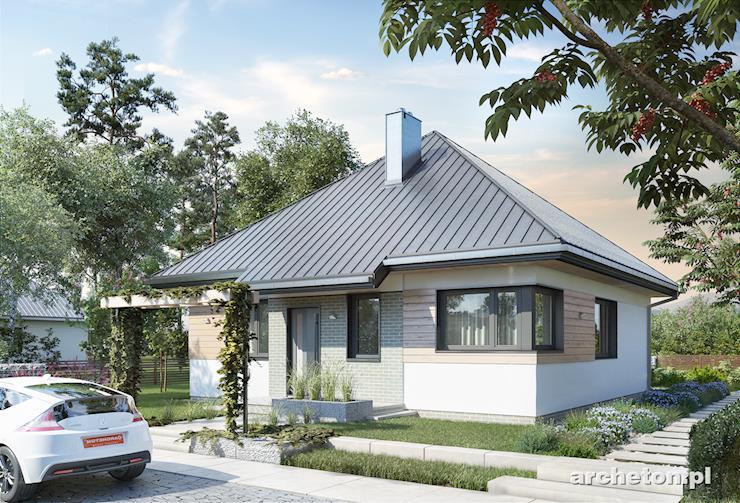 Projekt domu Fiołek - mały domek parterowy na planie kwadratu, pokryty dachem czterospadowym