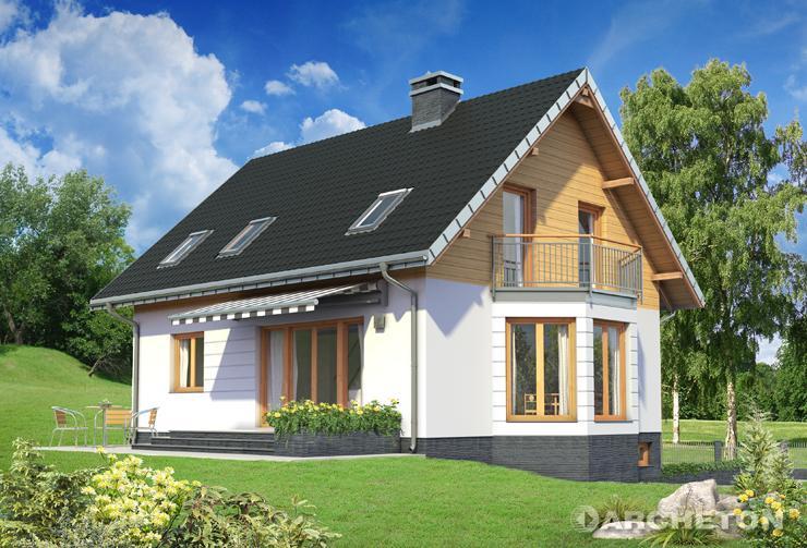 Projekt domu Fiona Ultra Stok - malowniczy dom z balkonem nad wysunięta częścią pokoju