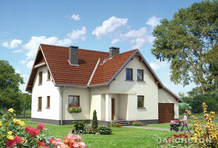 Projekt domu Forsycja - dom jednorodzinny z wnęka wejścia od strony frontowej