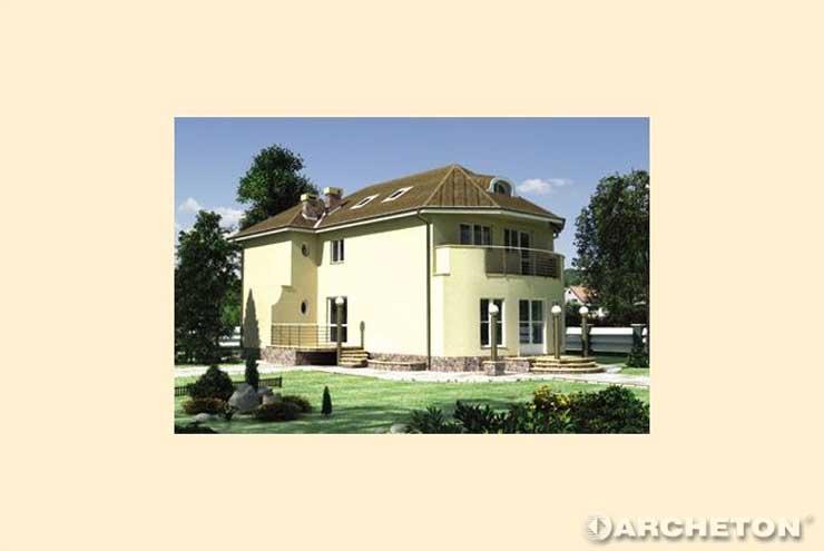 Projekt domu Fortuna - duży dom z tarasami ze stalowymi kolumnami oświetleniowymi