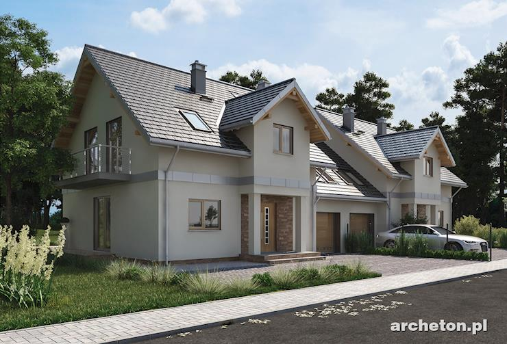 Projekt domu Fryda Duo - dom do zabudowy bliźniaczej, z wejściem urozmaiconym kolumnami