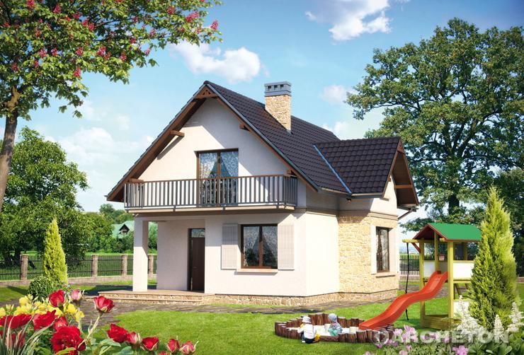 Projekt domu Fuksja - mały dom z balkonami przy sypialniach