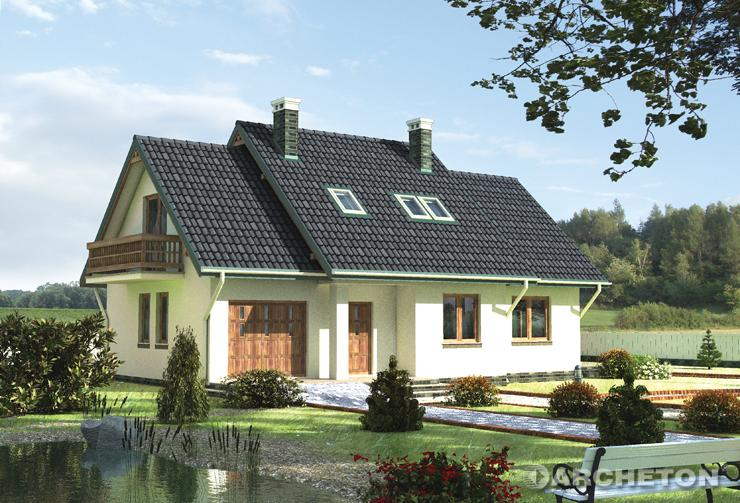 Projekt domu Gacek - malowniczy dom jednorodzinny z drewnianymi balustradami na balkonach