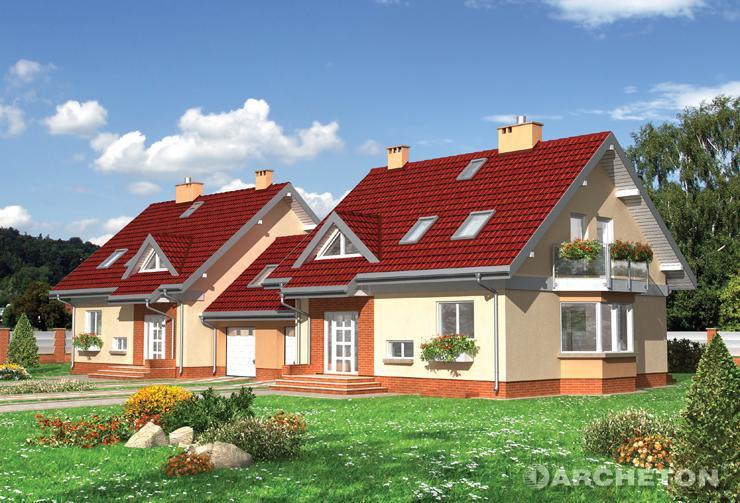 Projekt domu Gala Duo - dom do zabudowy bliźniaczej, z wysuniętą częścią jadalni