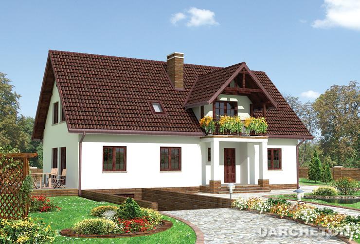 Projekt domu Galicja - duży dom z obszernym pokojem dziennym i tarasem