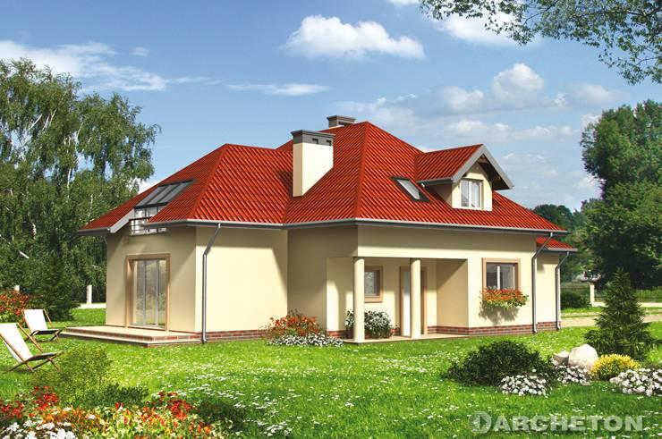 Projekt domu Gaspar - ciekawy i atrakcyjny dom z dużym przeszkleniem nad salonem