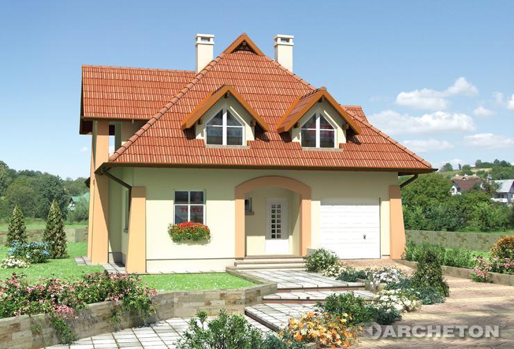 Projekt domu Gawęda - dom z użytkowym poddaszem, akcentowany kamienną okładziną