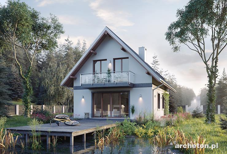 Projekt domu Gawra - mały domek na planie prostokąta z przestronnym pokojem dziennym