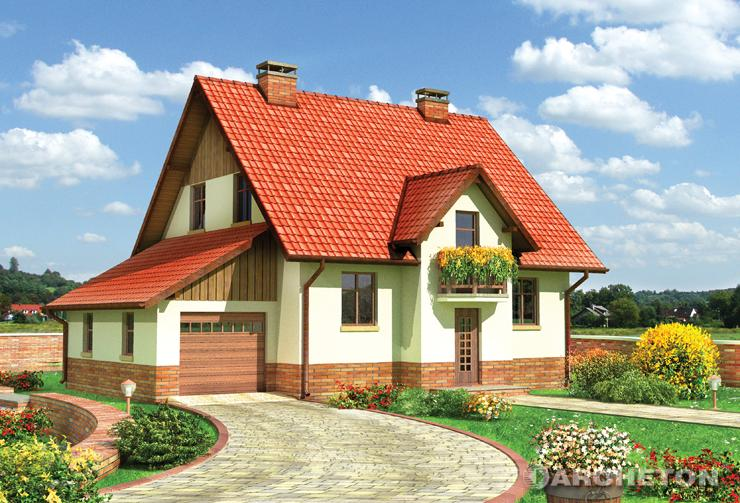 Projekt domu Gil - dom z wejściem przez klatkę schodową, z tarasem nad jadalnią