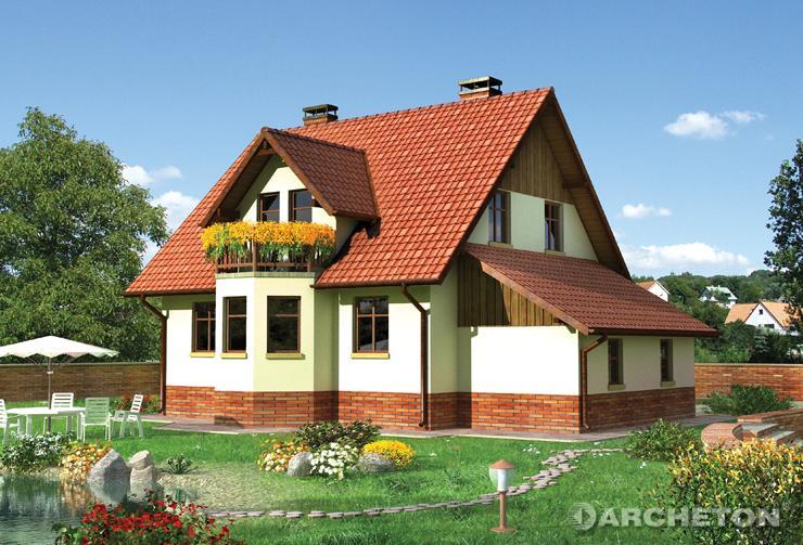 Projekt domu Gil - dom z użytkowym poddaszem oraz dostawionym garażem jednostanowiskowym