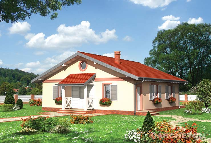 Projekt domu Głaz - dom parterowy z przestronnym pokojem dziennym, z ogrzewaniem na węgiel