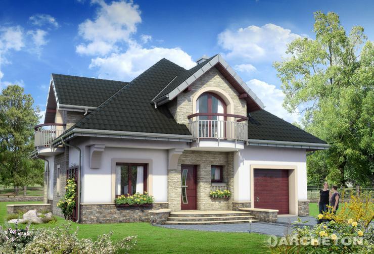 Projekt domu Gloria - piękny, tradycyjny dom pokryty dachem wielospadowym, z dużym tarasem od ogrodu