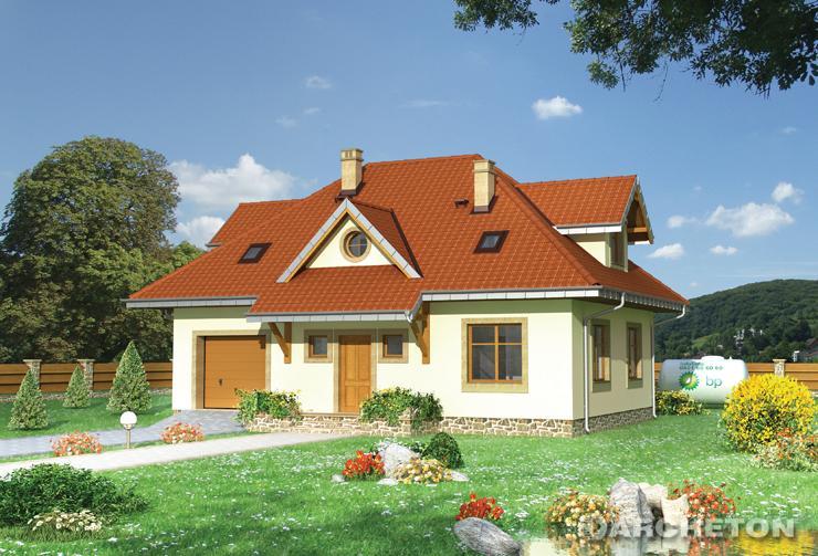 Projekt domu Gozdawa Nowa - dom jednorodzinny wzbogacony lukarnami od wejścia i strony ogrodu