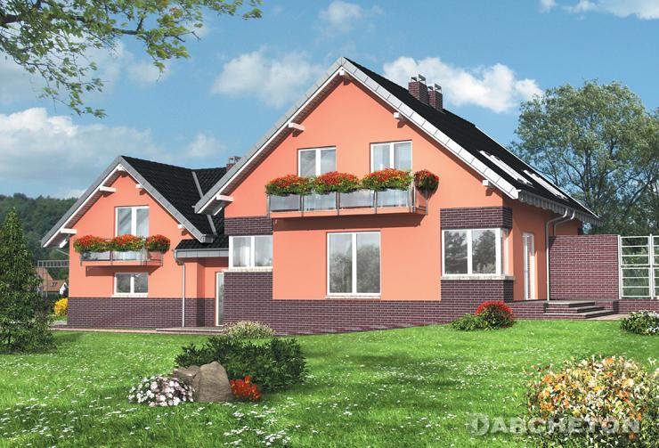 Projekt domu Gracja Duo - dom bliźniaczy z użytkowym poddaszem