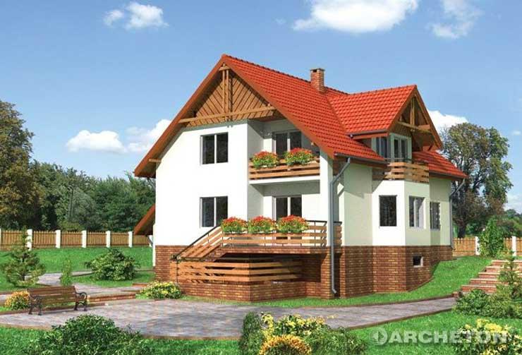 Projekt domu Granit - malowniczy dom wzbogacony tarasem ze schodami do ogrodu oraz loggią