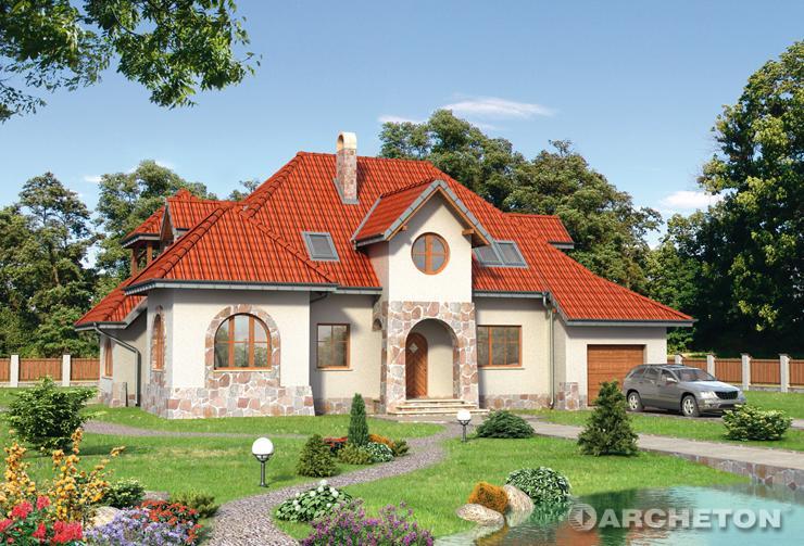Projekt domu Gródek - duży dom o bryle urozmaiconej zestawieniem różnych form architektonicznych