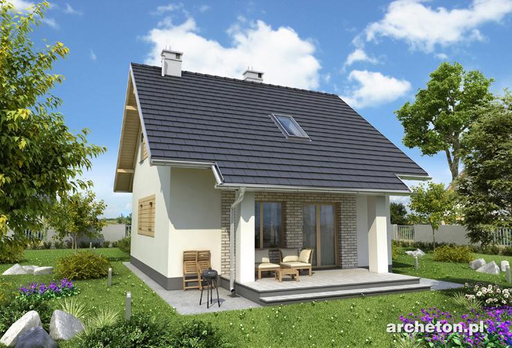 Projekt domu Groszek - niewielki domek z użytkowym poddaszem, idealny dla 4 osobowej rodziny
