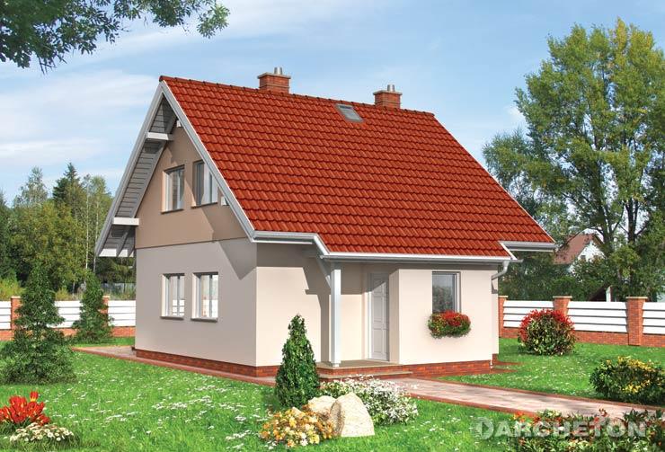 Projekt domu Groszek - mały domek z użytkowym poddaszem w kształcie kwadratu