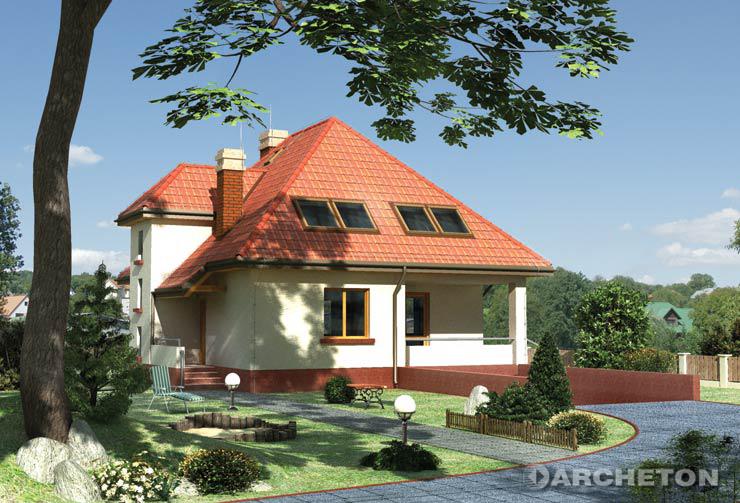 Projekt domu Grot - prosty dom wzbogacony ryzalitem mieszczącym klatkę schodową