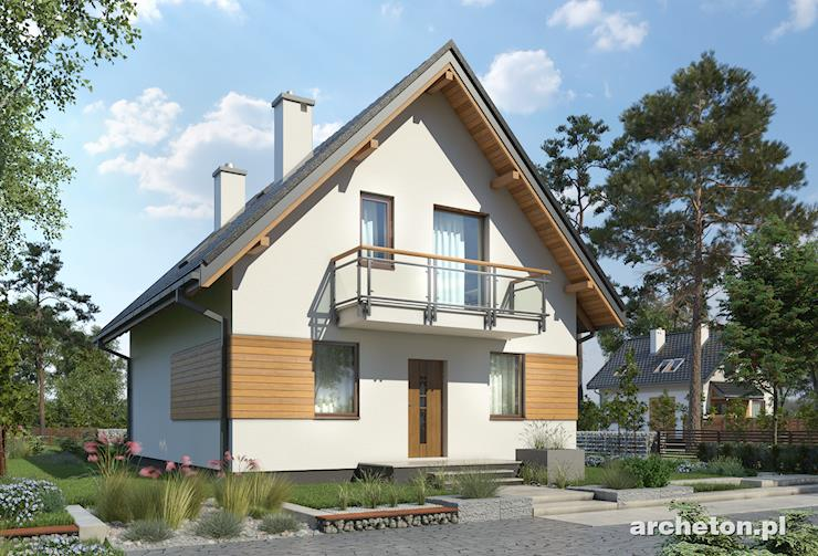 Projekt domu Grześ - dom tani w budowie z wejściem od ściany szczytowej