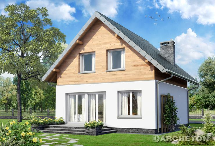Projekt domu Gutek - domek o nowoczesnych detalach, z wejściem od ściany szczytowej