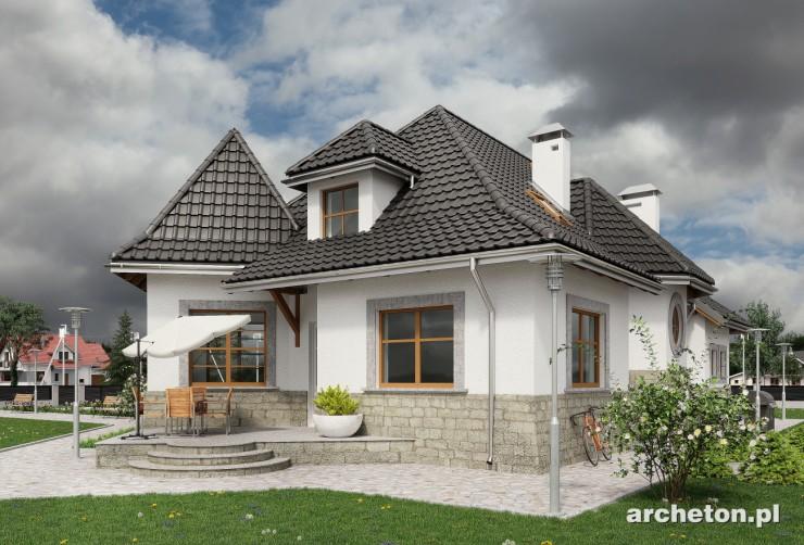 Projekt domu Harfa - bardzo malowniczy dom wzbogacony wieloma formami architektonicznymi