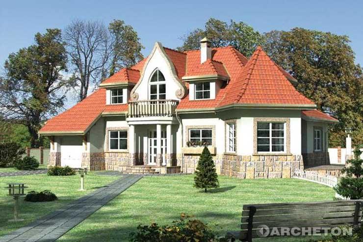 Projekt domu Harfa - duży dom z malowniczo zaakcentowanym wejściem