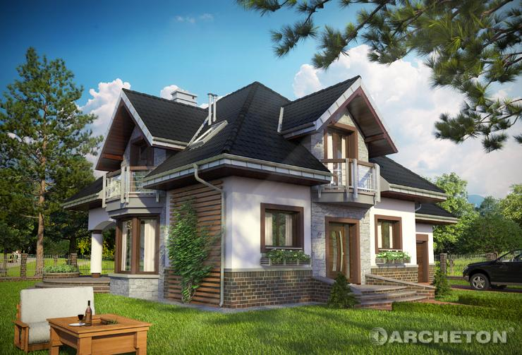 Projekt domu Hektor - tradycyjny dom z nowoczesnymi detalami, z gabinetem na parterze