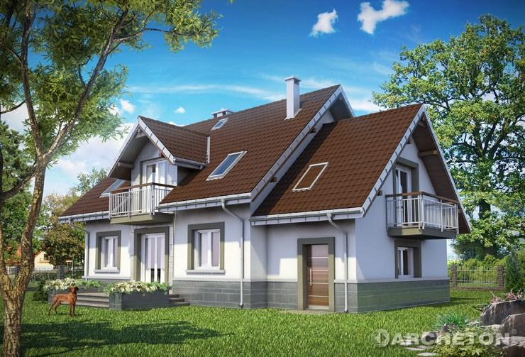 Projekt domu Helena Polo - dom pokryty dachem dwuspadowym, z symetrycznie ułozonymi lukarnami